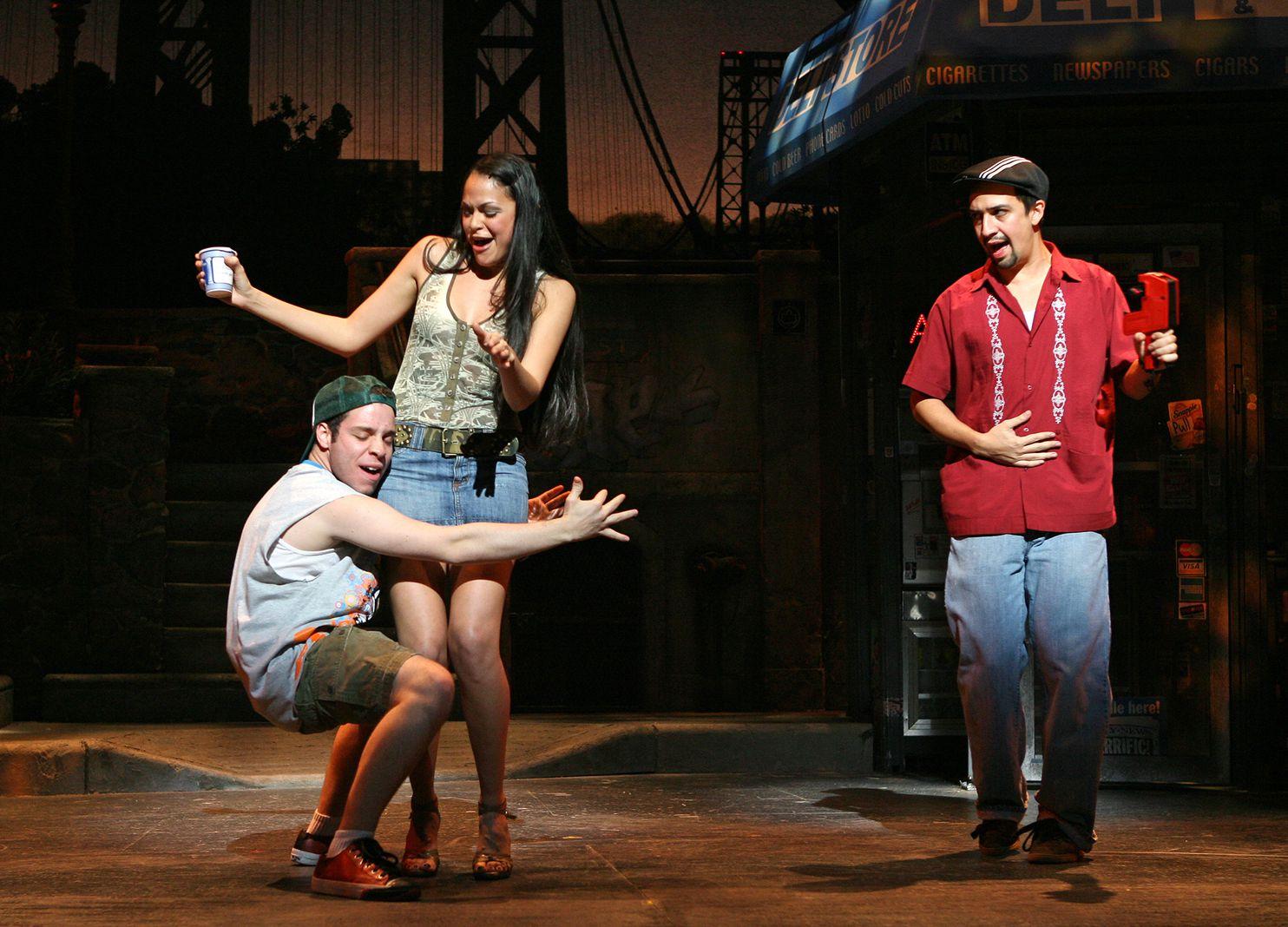 Robin de Jesus, Karen Olivo, and Lin-Manuel Miranda in In The Heights