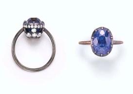 ダイヤをあしらった透かしの台に乗るオーバルカットのサファイア(8.59ct)の指輪。落札価格$50,400
