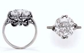 """10.12ctのオールドマインカットダイヤの""""スレッド"""" リング。落札価格$464,000(約5600万円)"""
