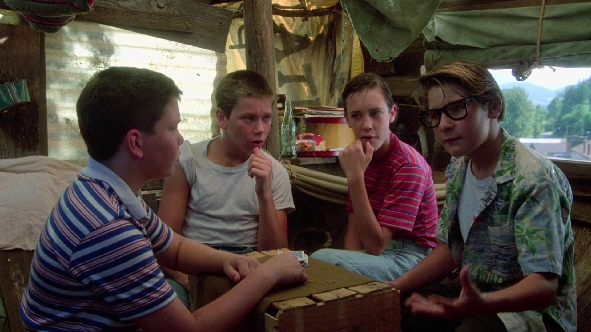 From Left to Right: Jerry O'Connell as Vern, River Phoenix as Chris, Wil Wheaton as Gordie, Corey Feldman as Teddy in Stand By Me